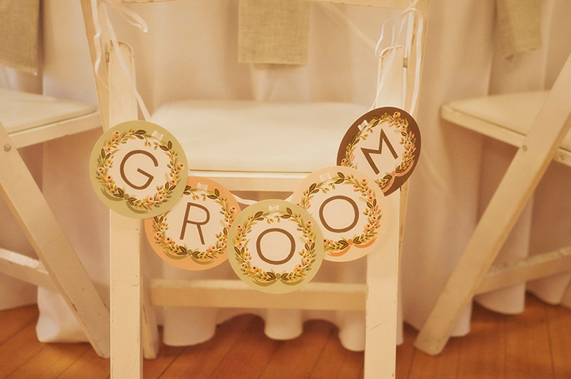 groom and bride signs
