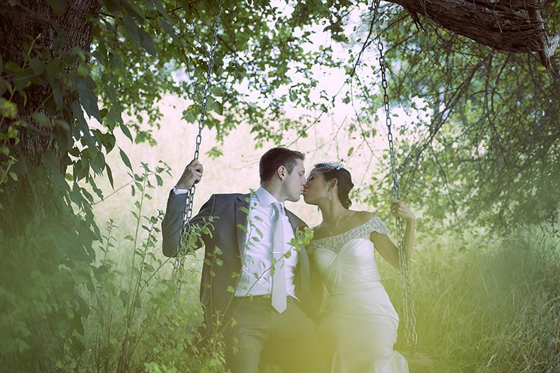 wedding photo on swing