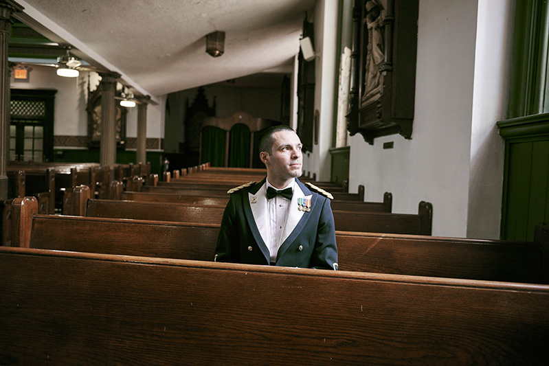 groom at the church