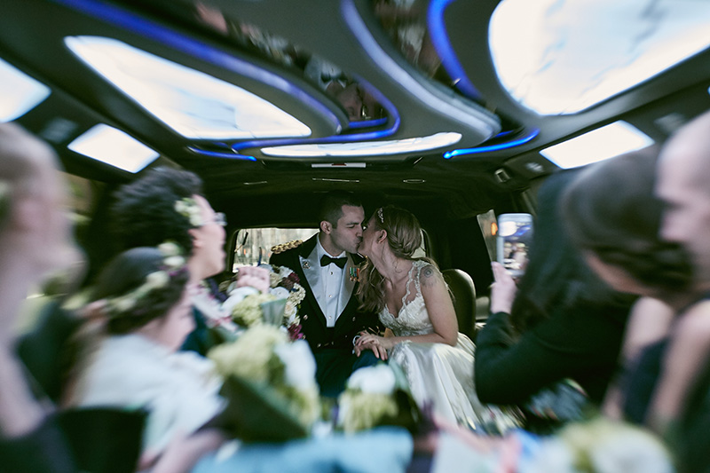 wedding limo portrait