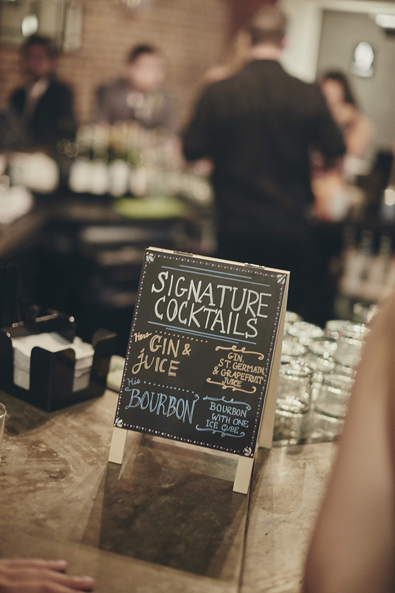 Signature wedding cocktails sign