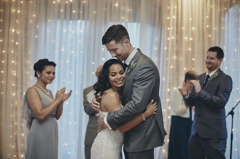 first wedding hug