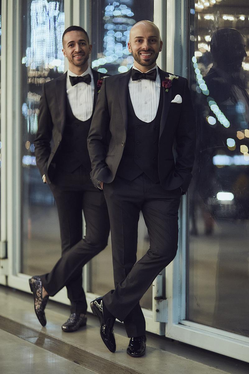 grooms posing