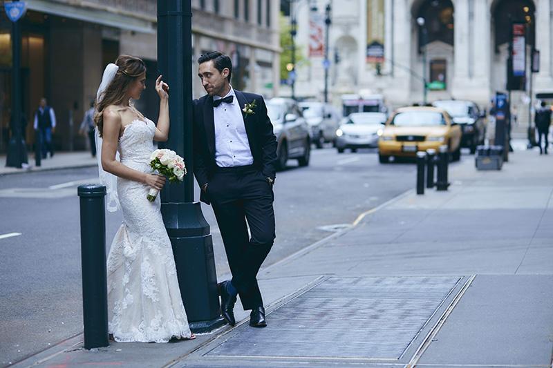 NYC street candid wedding photography