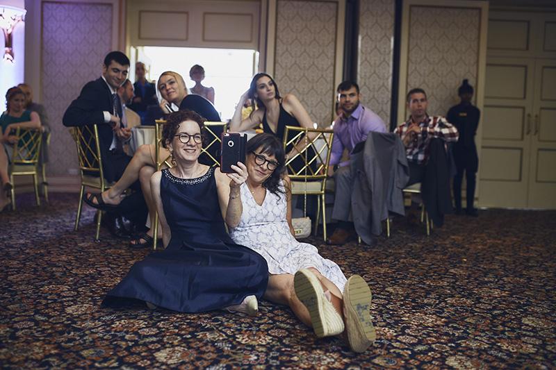 wedding guests on floor