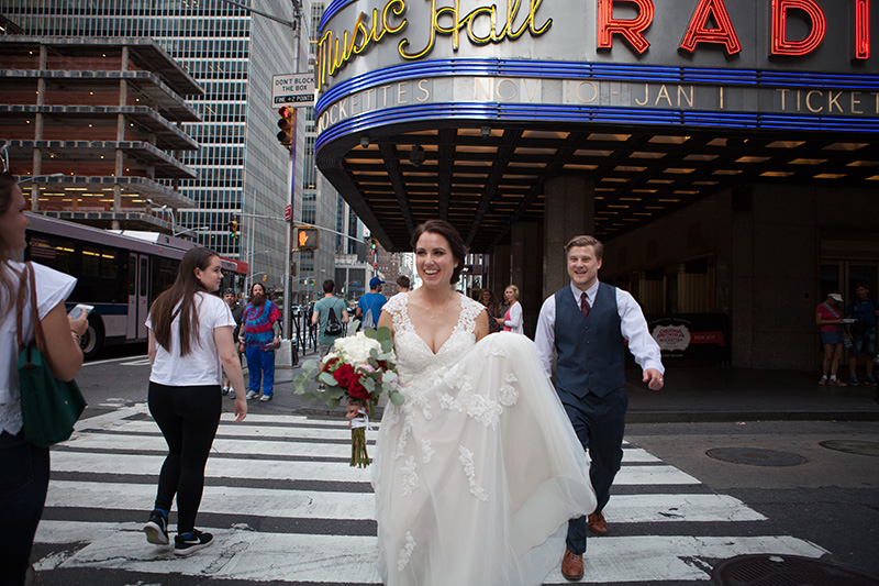bride crossing the street