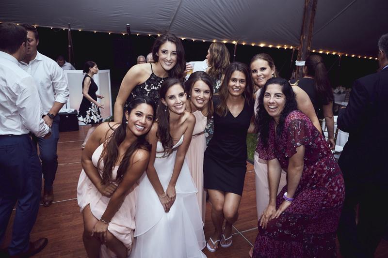 bride with bride maids dancing