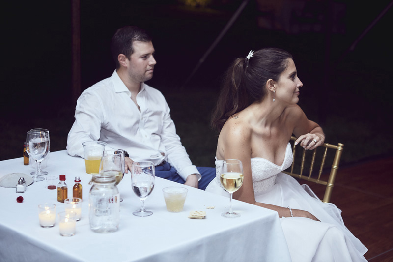 Bride and Groom reaction to the toast