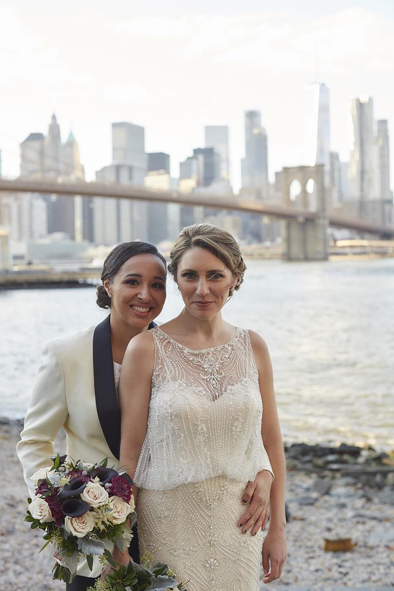 Brooklyn Bridge wedding portraits
