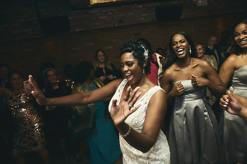 Brides dancing at the party