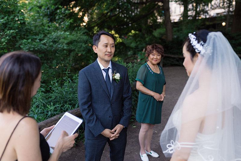 Central Park elopement ceremony