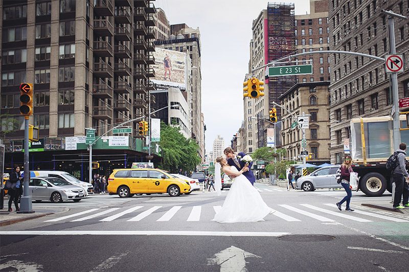 NYC street wedding photo