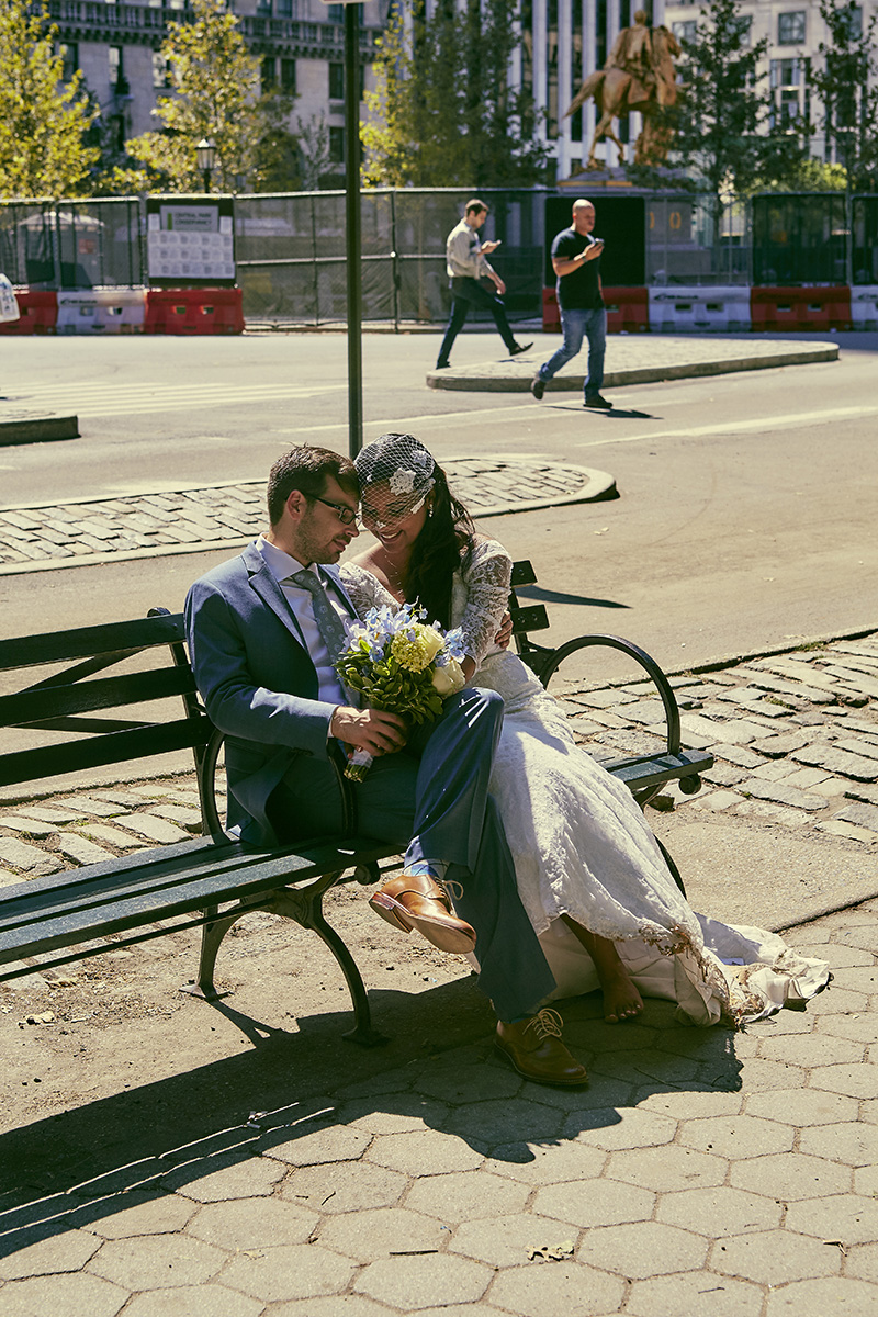 Central Park NYC elopement photography by Le Image - Brooklyn, NY wedding photographers and videographers. Bethesda Terrace wedding.