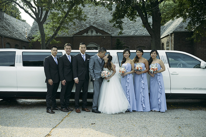 bridal party and limo