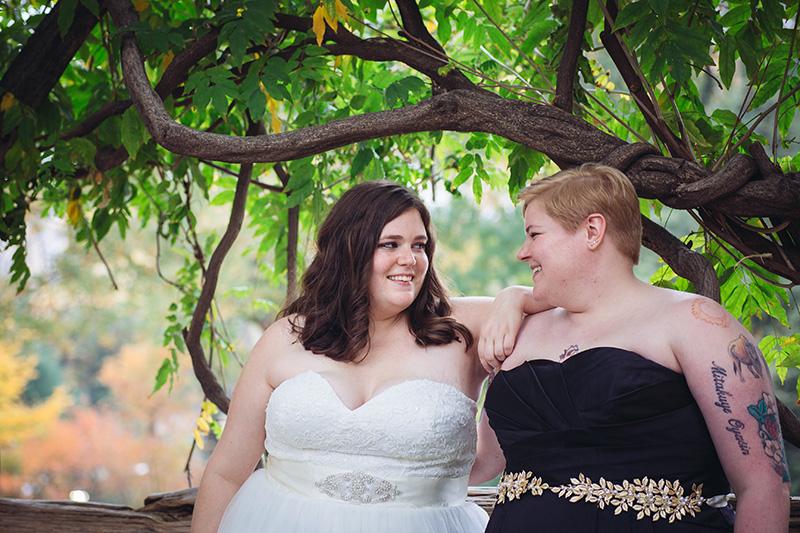 brides on central park bench