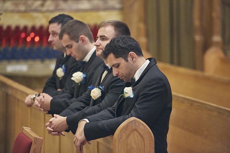 groomsmen in church