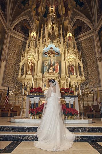 bride church portrait