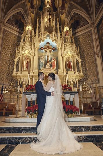 bride and groom church portrait