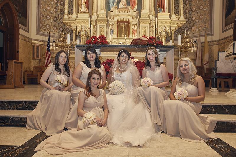 bridesmaids in church