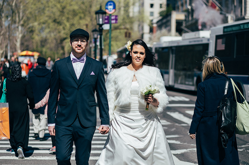 candid NYC streets wedding photography