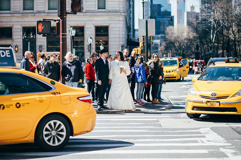 NYC streets wedding photography