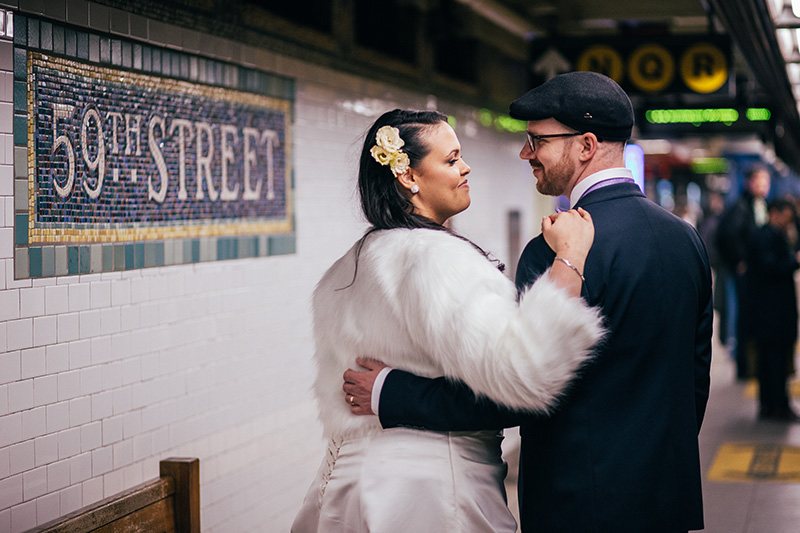 NYC subway wedding photos