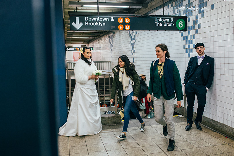 NYC subway wedding photography