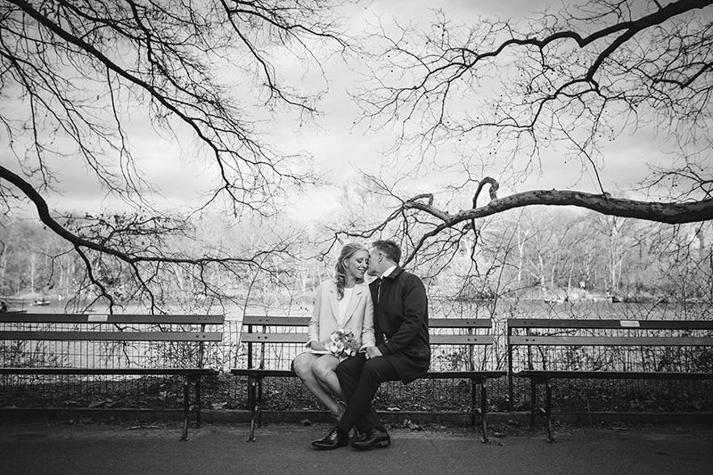 black & white central park elopement
