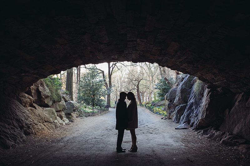 romantic central park arch photos