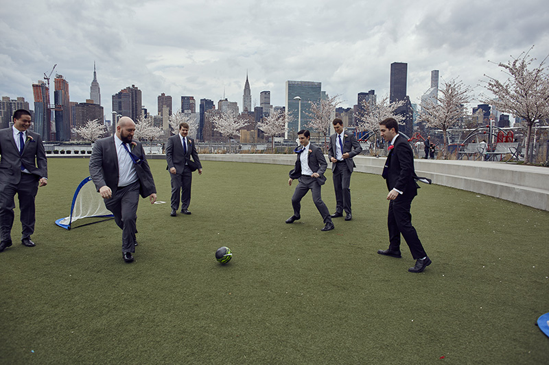 groomsmen playing soccer