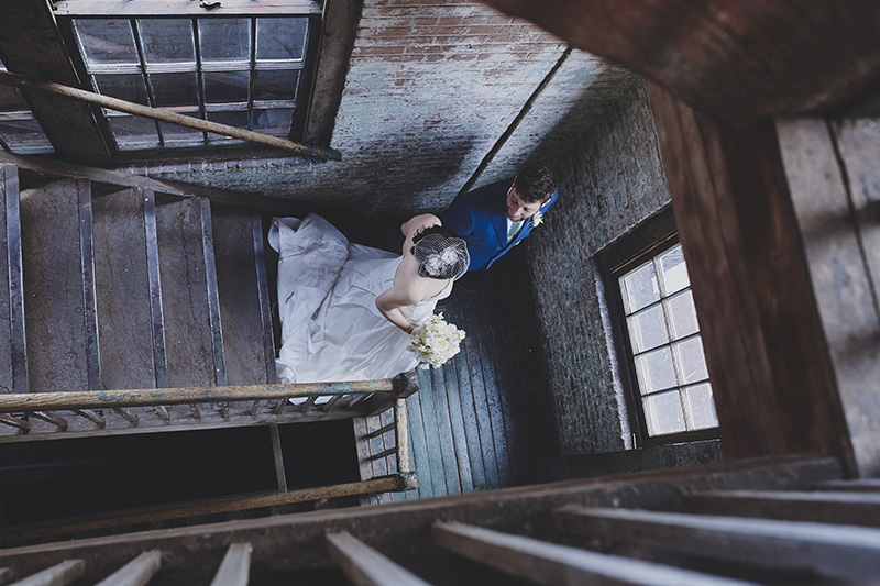 bride and groom from above
