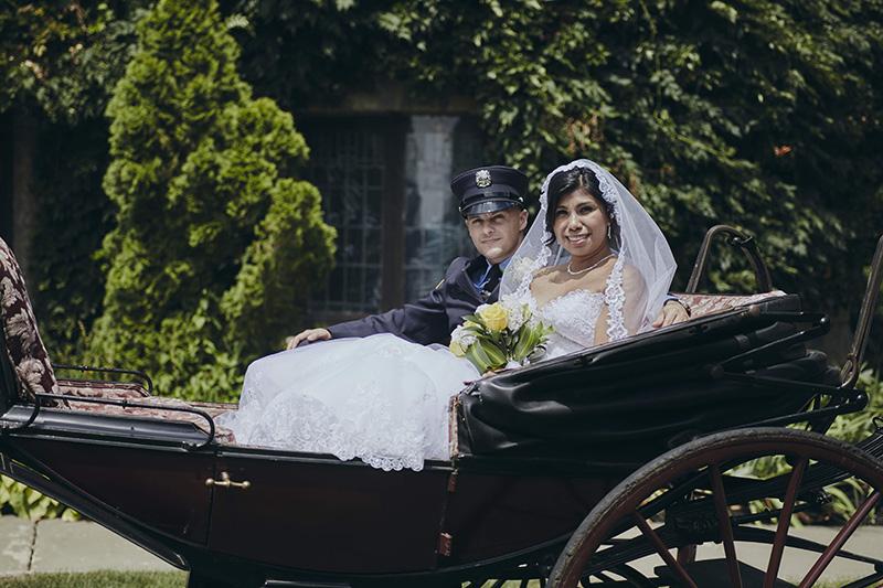 horse carriage wedding portraits