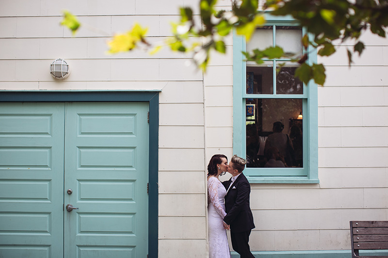 brides kissing