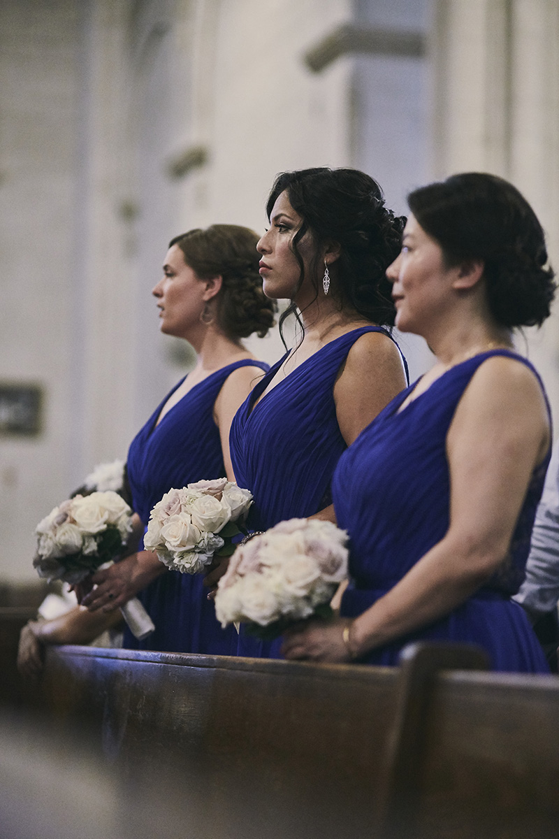 bridesmaids at church wedding