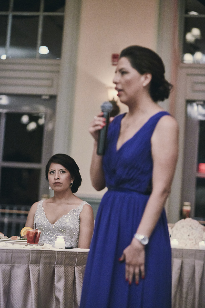 bride reaction to maid of honor speech