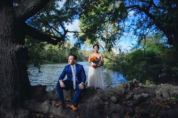 Sarah and John, wagner cove central park wedding