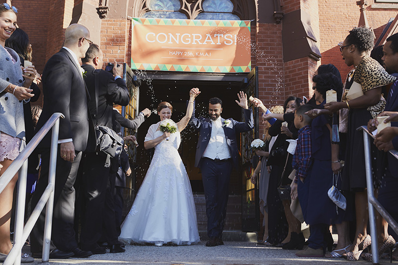 bride and groom church exit