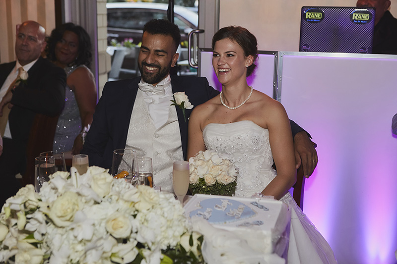 bride and groom reaction to speech