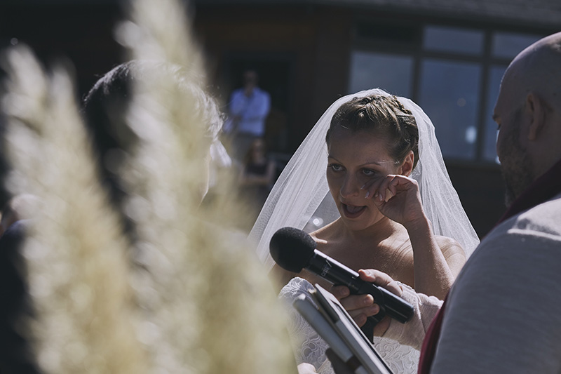 bride crying to wedding vows