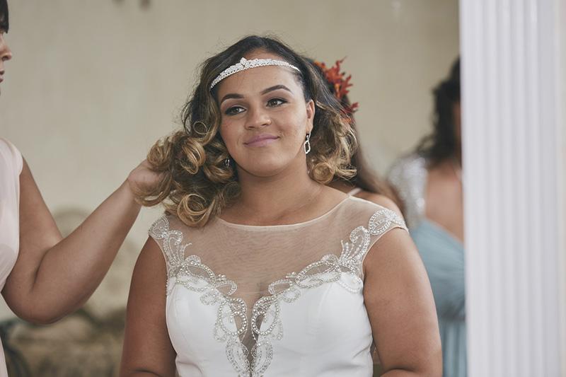 bride fixing hair