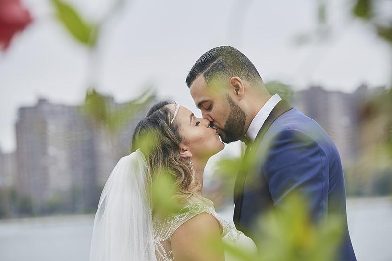 brid and groom kiss