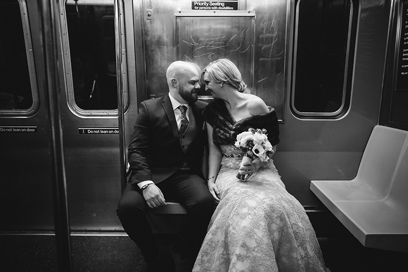 bride and groom in the subway