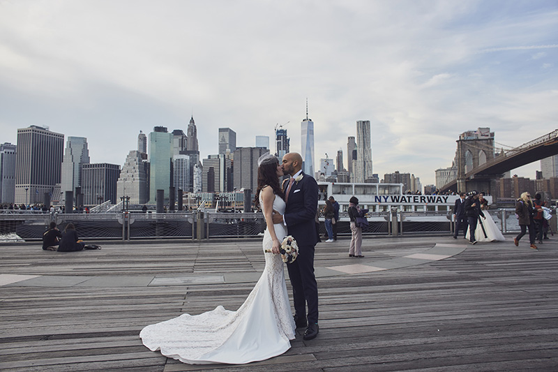 Brooklyn bridge park wedding portraits