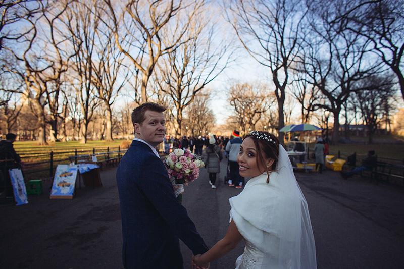 bride and groom Central Park walk