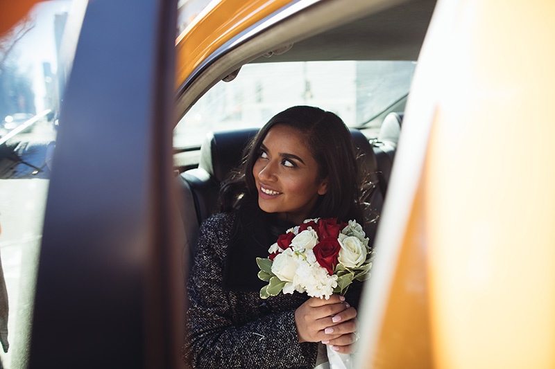 bride in a cab