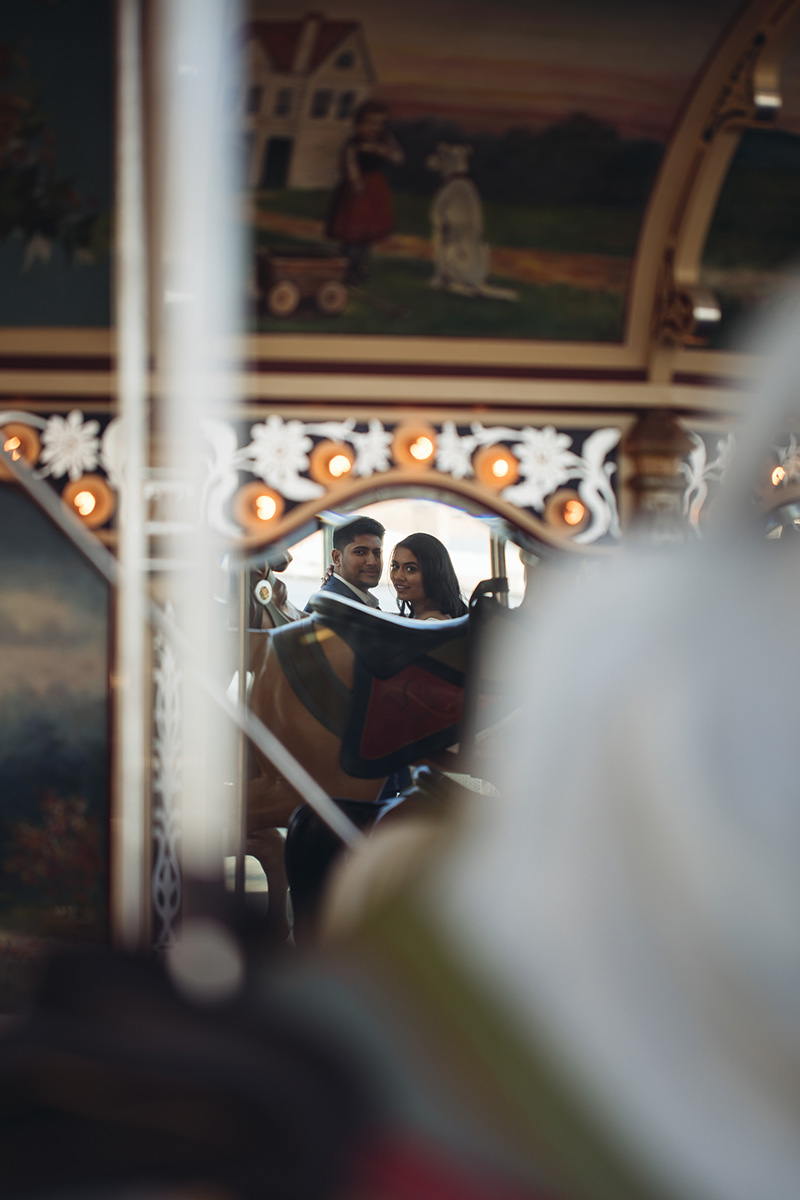 bride and groom in a mirror