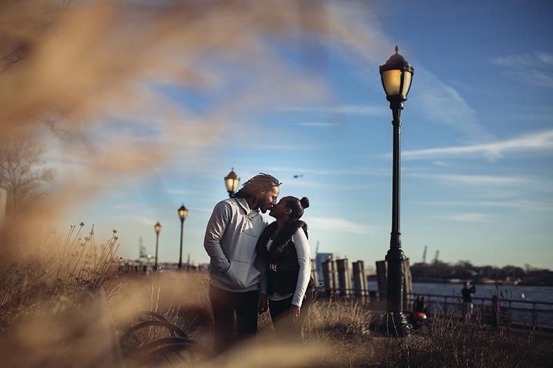 Battery park engagement photo shoot