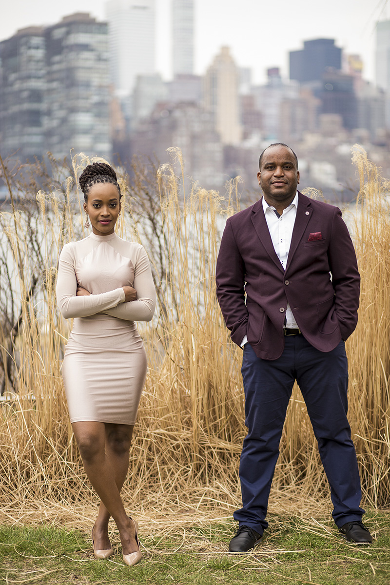 African American couple engagement photos