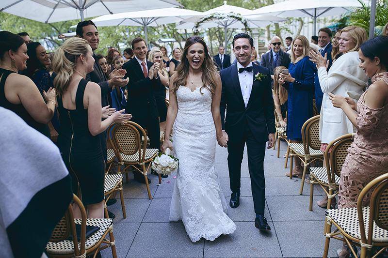 bride and groom recession