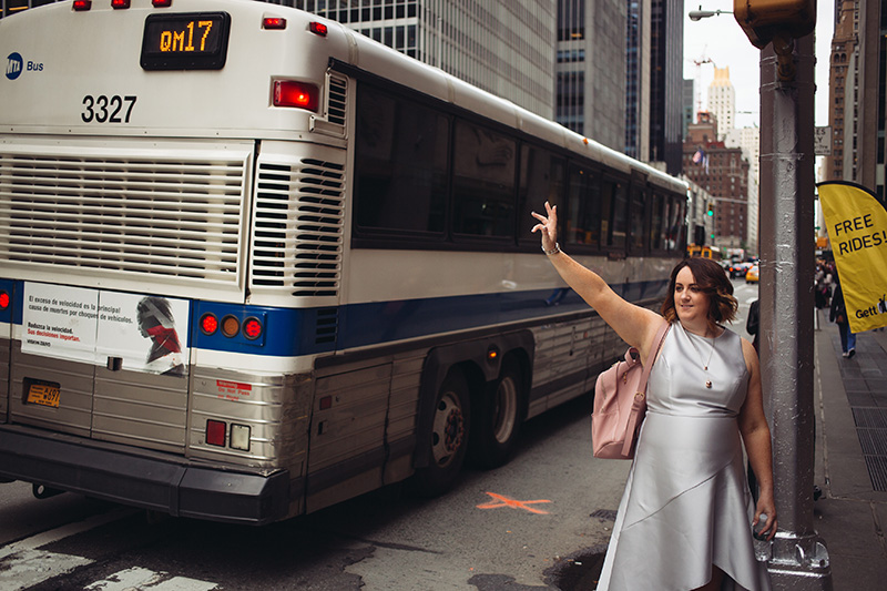 bride hailing a NYC taxi